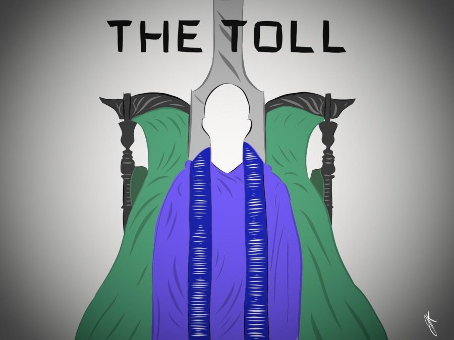 The Toll, the final installment of the Pulitzer Prize series shows off three of its main characters in the cover.