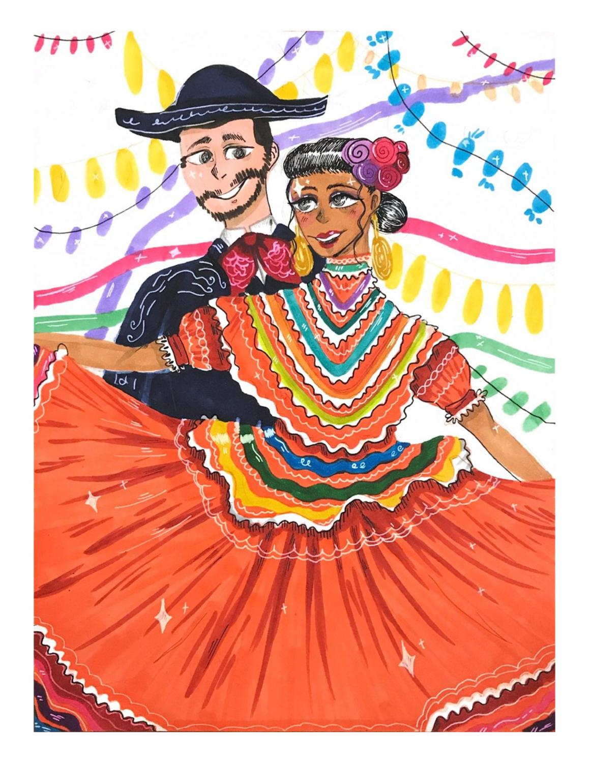 The Baile Folklorico club honors heritage through elaborate costumes and artistic dances.