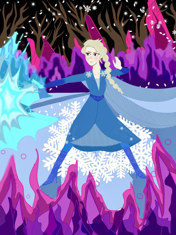 Elsa fending off evil in unknown territory.