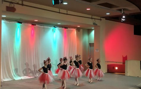 Ballerinas make a sweet appearance on stage at thee San Marcos Civic Center amphitheater.