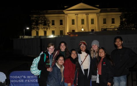 Some of the Silvertip Staff pose for a picture in front of the White House while touring D.C. at night.