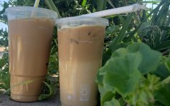 Two iced vanilla coffees sit in the sun, ready to be enjoyed.