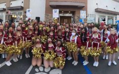 Mission Hills JV and Varsity cheerleaders lead the rally at Chick-Fil-A and encourage everyone to say MHHS.