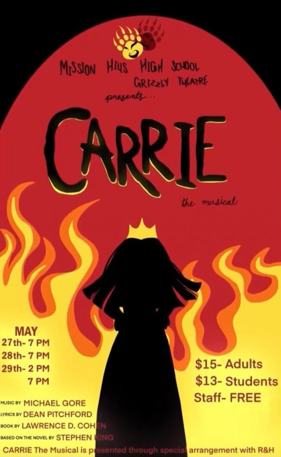 Tickets for Carrie will be $15.00 for adults, $13.00 for students, and free for staff!